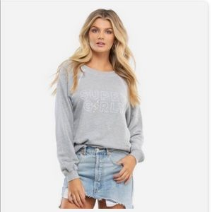 WILDFOX Gray Super Girly Crewneck Sweatshirt M